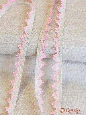 Кружево цв.серо-розовый 17мм, хлопок-39%, лен-55%, п/э-6%