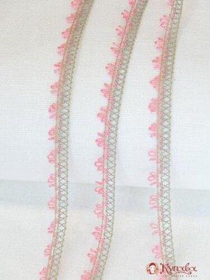 Кружево цв.серо-розовый 14мм, хлопок-69%, пэ-31%