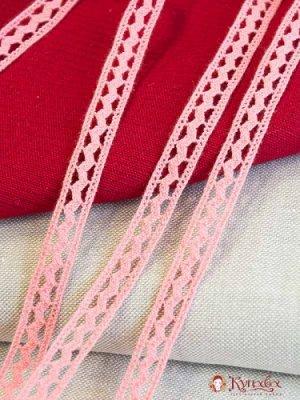 Кружево хлопок-90%, п/э-10%, 15мм, цв.коралловый светло-розовый
