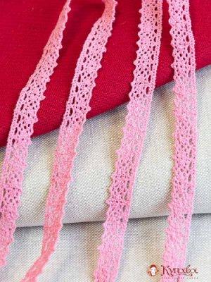 Кружево хлопок-90%, п/э-10%, 14мм, цв.розовый