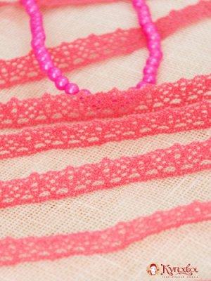 Кружево хлопок-90%, п/э-10%, 14мм, цв.розовый коралл