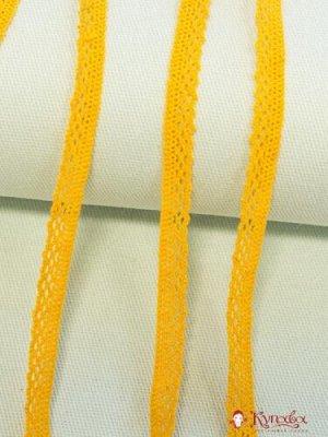 Кружево хлопок-90%, п/э-10%, 10мм, цв.желто-оранжевый