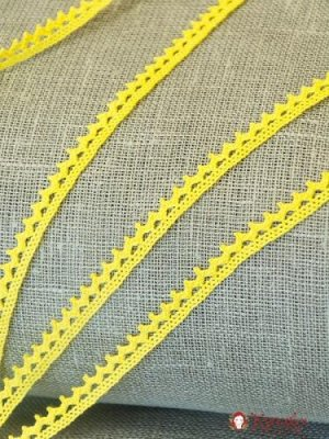Кружево хлопок-90%, п/э-10%, 10мм, цв.ярко-желтый