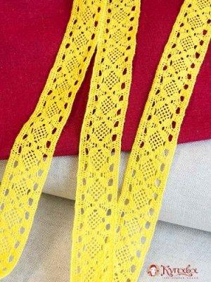 Кружево хлопок-90%, п/э-10%, 35мм, цв.ярко-желтый