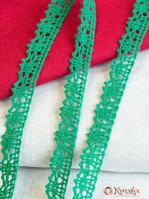 Кружево хлопок-90%, п/э-10%, 18мм, цв.изумрудно-зеленый