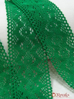 Кружево хлопок-90%, п/э-10%, 85мм, цв. зеленый