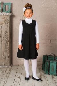 Красивый свободный школьный сарафан серого цвета