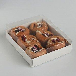 Коробочка для печенья с прозрачной крышкой 16 х 13 х 3 см