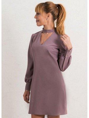 00676 Платье из костюмной ткани с чокером какао