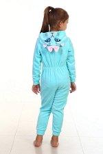 Пижама детская Кигуруми Котик 7-95 (ментол)