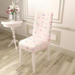 Чехол для стула Бабочки на розовом фоне