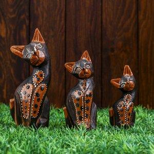 """Набор кошек сувенирных """"Кошки с оранжевым брюшком в горошек"""", 3 шт, 15, 12, 10 см"""