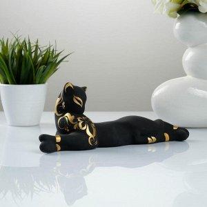 """Фигура """"Кошка Багира"""" малая лежачая роспись черная 7?27?10см 010"""