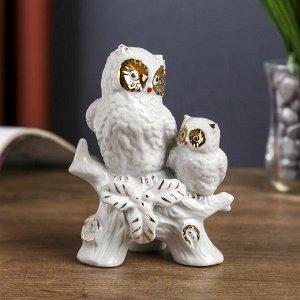 """Сувенир """"Два белых филина на ветке"""" с золотом 12х9х7 см"""