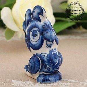 Сувенир «Попугай Семён», 10 см, гжель