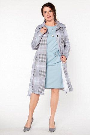 Пальто Пальто  Состав: Состав:  95% полиэстер; 5% эластан Описание модели:  Легкое летнее пальто полуприлегающего силуэта. Трикотаж в серо-голубую стильную клетку. Центральная застежка на пришивные к