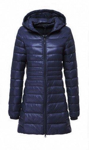 Женская удлиненная ультралегкая куртка  С КАПЮШОНОМ, цвет темно-синий