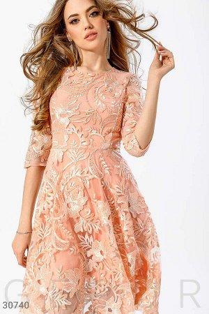 Платье Коктейльное платье А-силуэта, выполненное из прозрачной сетки с вышивкой и блестящими пайетками. маломерит, желательна примерка. материал: сетка с декором.