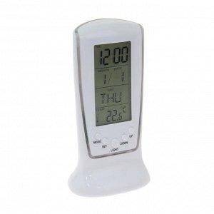"""Будильник LuazON LB-02 """"Обелиск"""". часы. дата. температура. подсветка. белый"""