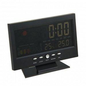 Будильник LuazON LB-15. дата. температура. черный