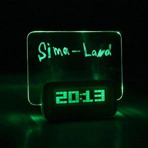 """Будильник LuazON LB-16 """"Послание"""". с маркером. подсветка зеленого цвета. белый"""
