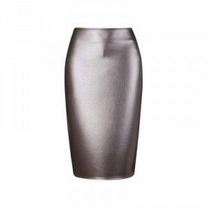 Юбка вечерняя новогодняя серебро из кожзама 40-42 (xs)
