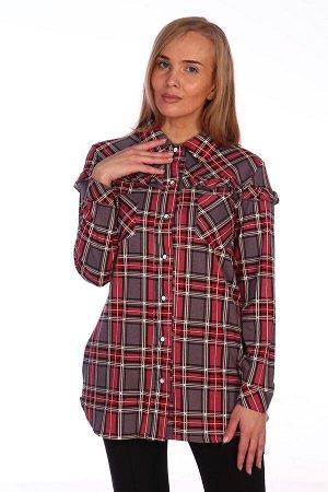Рубашка Женская удлиненная рубашка из трикотажного полотна свободного покроя, с отрезной кокеткой по полочке и спинке, с застежкой на пуговицы. Изделие с втачным рукавом на манжете, с двумя нагрудными