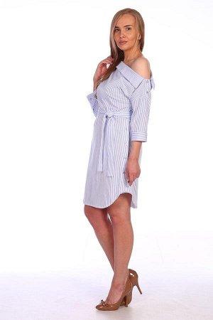Платье Платье женское трикотажное свободного силуэта, на поясе, комбинированного покроя. Имитация мужской классической сорочки в современном исполнении. Верхний срез платья с одним открытым плечом и и