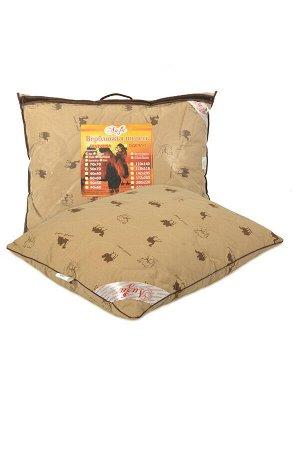 Подушка Подушка с содержанием волокон верблюжьей шерсти. Чехол простеган на многоигольной машине с термофиксированным полотном «Верблюд» плотностью 100г/кв.м Наполнитель - искусственный лебяжий пух (в