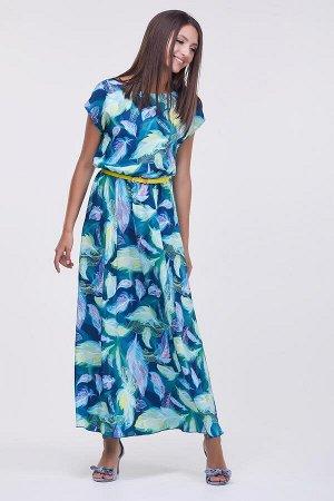 Платье Дарья №1 .Цвет:салатовый/перья