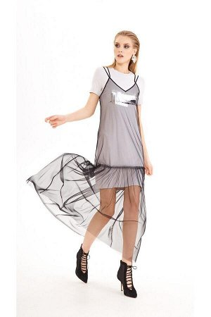 Платье, сарафан DiLiaFashion Артикул: 0218 серый-беж/черный