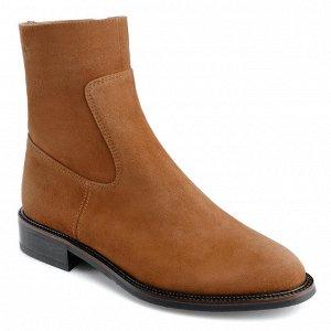 Рыжие замшевые ботинки. Модель 3208 б рыжая замша (демисезон)