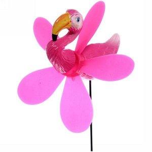 "Фигура на спице ""Розовый фламинго"" 14*40см ветрячок"