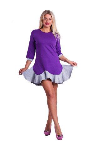 Платье П 505 (фиолетовый + серый)