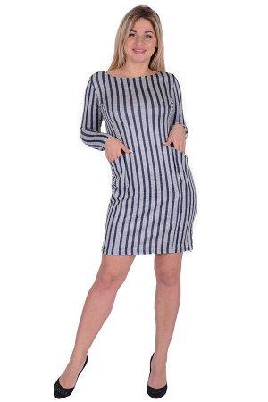 Платье П 662/1 (серый+т.синяя полоса)