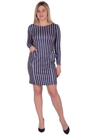Платье П 662/1 (т.синий+розовая полоса)