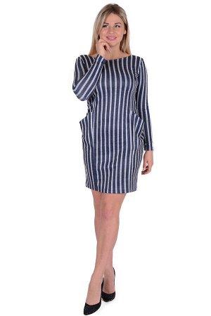 Платье П 662/1 (т.синий+серая полоса)
