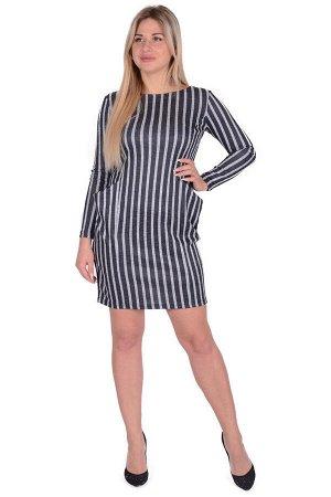 Платье П 662/1 (черный+серая полоса)