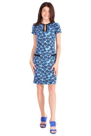 Платье П 180 (синий + цветочный принт)