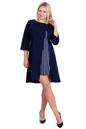 Платье П 635/1 (темно-синий + полоса)
