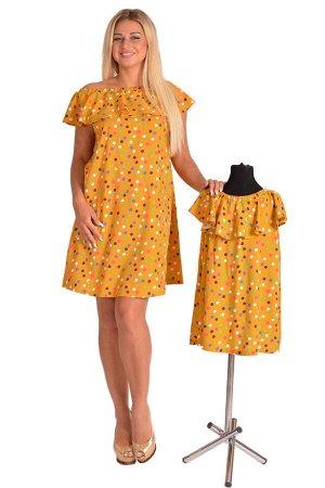Детское платье ДП 704 (горчичный с горохом)