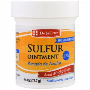 De La Cruz, Серная мазь, лечение акне, максимальный эффект, 2.6 унции (73.7 г)