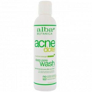 Alba Botanica, Acne Dote, средство от акне, глубокое очищение пор, не содержит масла, 177 мл (6 жидких унций)