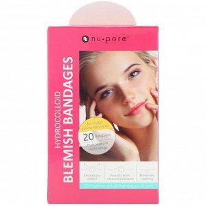 Nu-Pore, Hydrocolloid Blemish Bandages for Raised, Yellow Blemishes, 20 Bandages