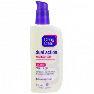 Clean & Clear, Увлажняющее средство двойного действия, лекарство от угревой сыпи с салициловой кислотой, 4 жидк. унц. (118 мл)