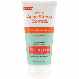 Neutrogena, Безмасляное средство от акне Acne Stress Control, крем для умывания, 6 ж. унц. (177 мл)