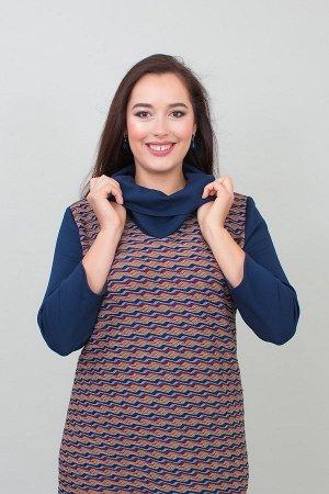 Платье Луиза темно синий оранжевый