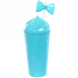 """Стакан пластиковый 500мл """"Мороженое"""" с трубочкой"""