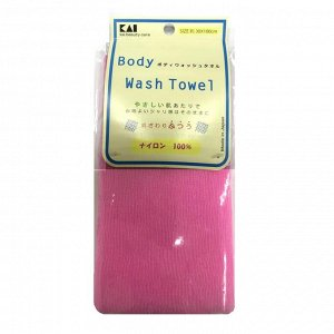 Мочалка для тела (с плотным плетением средней жесткости), 30 см х 100 см. Цвет: Пастельный розовый