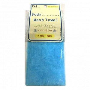 Мочалка для тела (с плотным плетением средней жесткости), 30 см х 100 см. Цвет: Пастельный голубой